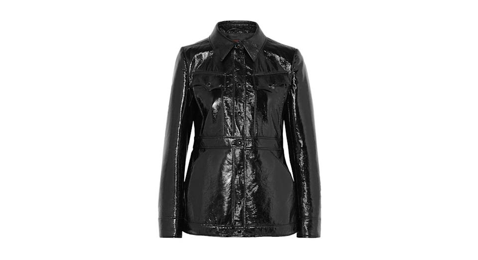 "<p>This may be on the pricey side but we still can't get enough of vinyl a year on. This coat by Alexa Chung's eponymous label is everything. <br><a href=""https://www.net-a-porter.com/gb/en/product/1062575/ALEXACHUNG/vinyl-jacket"" rel=""nofollow noopener"" target=""_blank"" data-ylk=""slk:Buy here."" class=""link rapid-noclick-resp"">Buy here.</a> </p>"