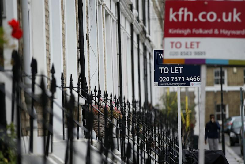 To Let signs stand next to a properties in west London, Tuesday, Aug. 2, 2016. A new study has found that the proportion of people owning their homes in England has fallen to its lowest level in thirty years and that soaring prices have forced millions to abandon the dream of home ownership, with parts of northern and central England becoming increasingly unaffordable. (AP Photo/Alastair Grant)