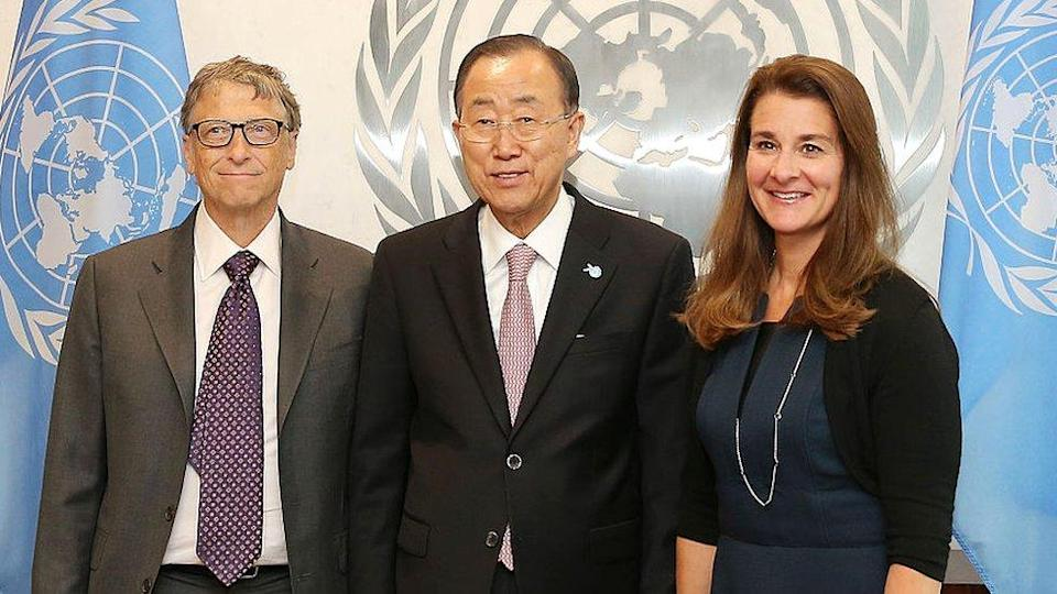 Bill and Melinda Gates with then-UN Secretary General Ban Ki-moon at the United Nations in 2015