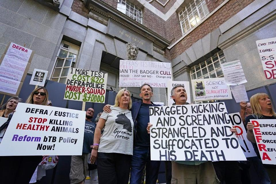 Helen Macdonald has joined a protest outside Defra HQ in London (Dominic Lipinski/PA) (PA Wire)