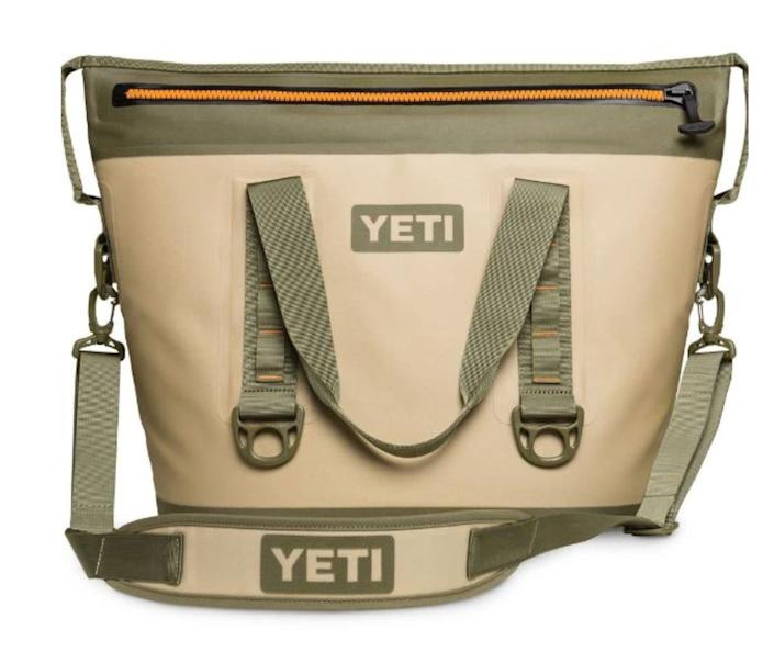 "Snyder recommends this YETI Hopper Two 30 Soft Cooler. <a href=""https://fave.co/3gL0xCj"" rel=""nofollow noopener"" target=""_blank"" data-ylk=""slk:Rent it starting a $10/day at Arrive."" class=""link rapid-noclick-resp"">Rent it starting a $10/day at Arrive.</a>"