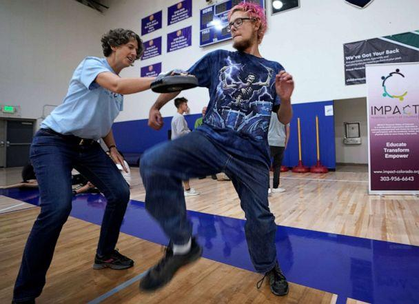 PHOTO: Pinnacle Charter School high school student Gregory Younce practices self-defense with trainer Alexis Halkovic during training for an active shooter situation in a school in Thornton, Colorado, Aug. 28, 2019. (Rick Wilking/Reuters)