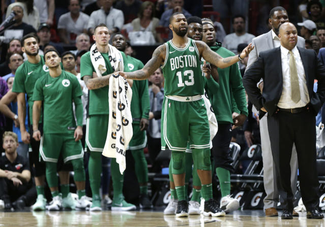 "<a class=""link rapid-noclick-resp"" href=""/nba/players/4895/"" data-ylk=""slk:Marcus Morris"">Marcus Morris</a> isn't letting his work in Boston take away from his Philadelphia fandom in the run up to the Super Bowl. (AP)"
