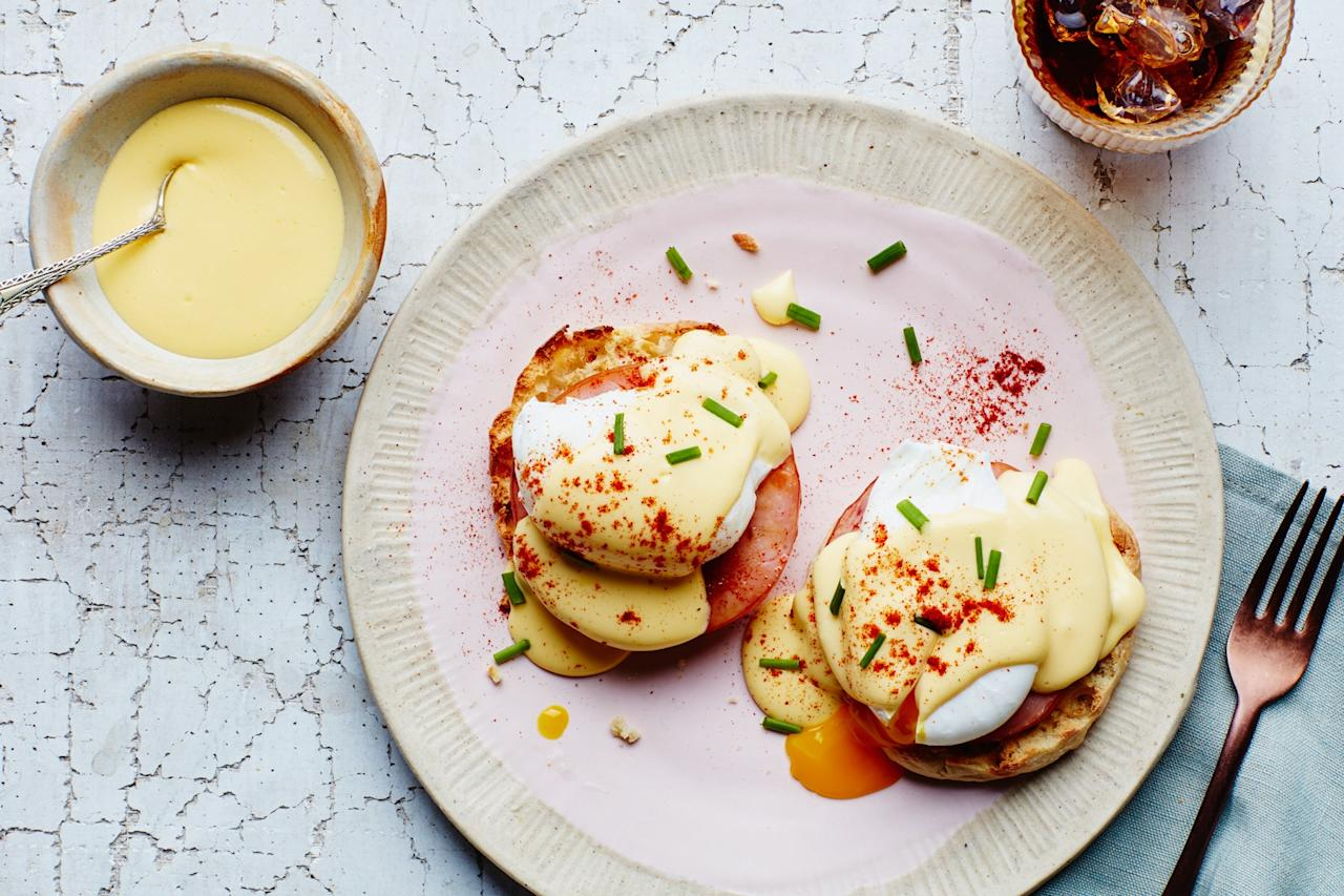 "No need to seek out Canadian bacon. Top these post-holiday bennys with slices of leftover ham instead. It's a tasty swap that pairs just as well with the classic combination of buttered English muffins, perfectly poached eggs, and creamy Hollandaise sauce. <a href=""https://www.epicurious.com/recipes/food/views/classic-eggs-benedict-with-blender-hollandaise?mbid=synd_yahoo_rss"">See recipe.</a>"
