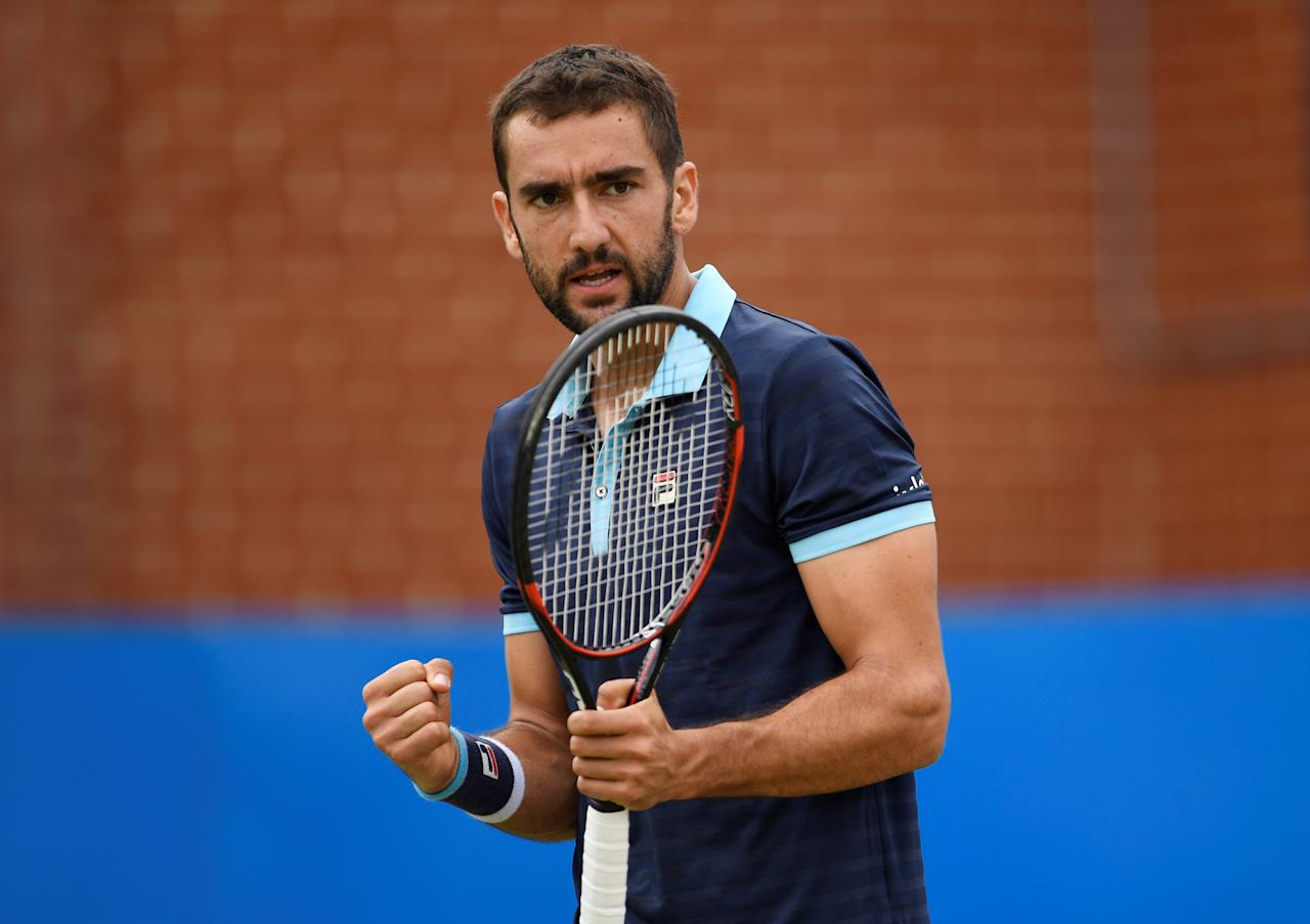 Tennis - Aegon Championships - Queen's Club, London, Britain - June 23, 2017   Croatia's Marin Cilic celebrates during his quarter final match against USA's Donald Young    Action Images via Reuters/Tony O'Brien