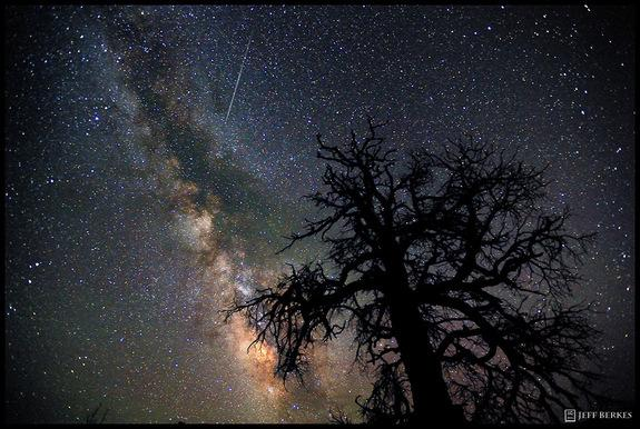 Photographer Jeff Berkes caught this Perseid meteor over Dead Horse Point State Park, Utah, on July 30, 2011.