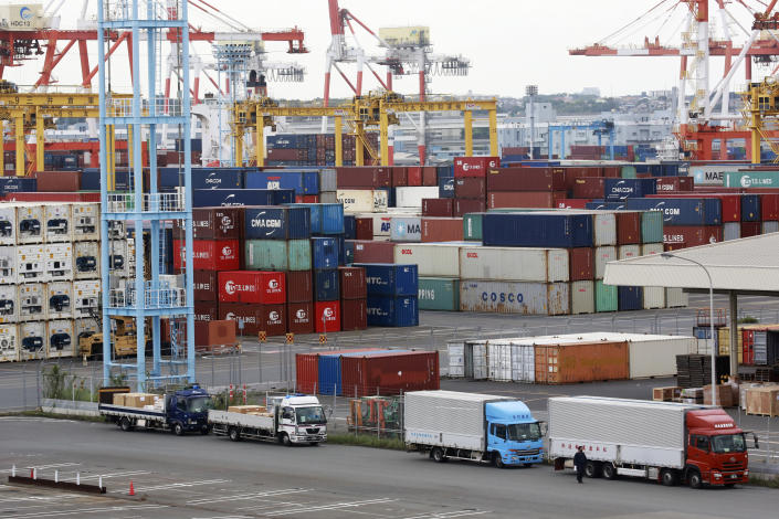 Containers are placed at a port in Yokohama, south of Tokyo, on Sept. 7, 2021. Japan's exports rose 26% in August from a year earlier, preliminary data released Thursday, Sept. 16, 2021 showed, below analysts' forecasts, as supply chain disruptions hit manufacturers. (AP Photo/Koji Sasahara)