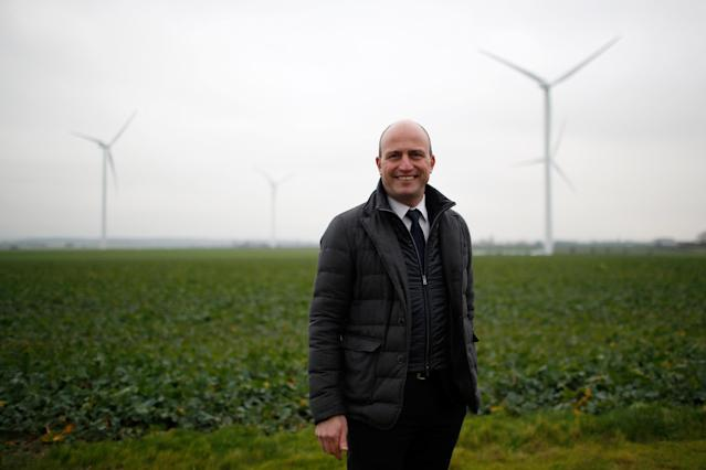 Xavier Caitucoli, Chairman and Chief Executive Officer of Direct Energie, poses during a visit at a wind farm in Juille near Le Mans, France January 8, 2018. REUTERS/Stephane Mahe