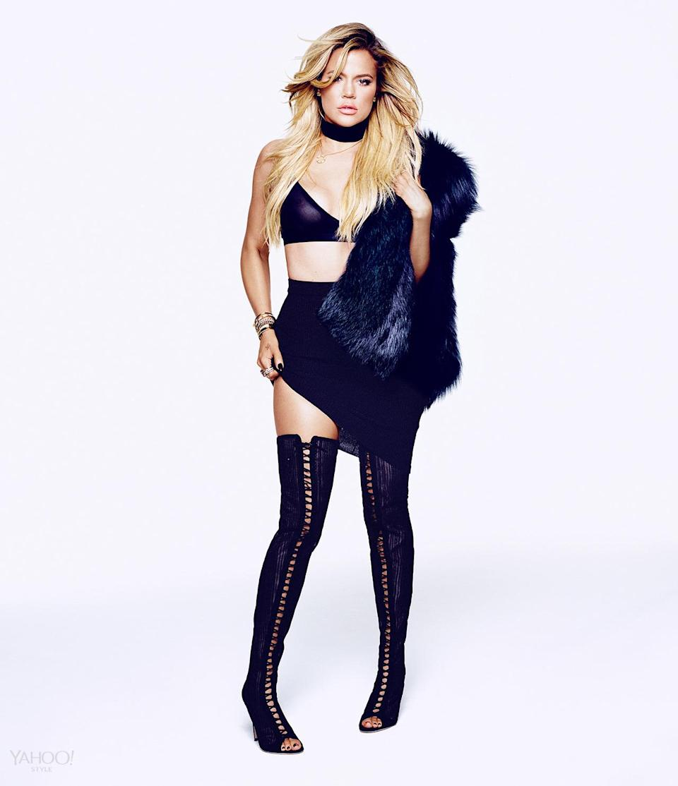 """<p>In her interview with Joe Zee, Khloé says, """"If Instagram were to take a picture of your soul, what would that look like? I know my soul is beautiful, I know I'm a good person,"""" she says. """"And that will never change for me.""""</p><p><i>Calvin Klein Underwear Icon Modern T-shirt Bra, $42, macys.com<br>Jason Wu Fur Stole, Khloe's Own<br>Balenciaga Knit Skirt, Khloe's Own<br>Gianvito Rossi Boots, Price Upon Request, <a href=""""http://www.gianvitorossi.com/"""" rel=""""nofollow noopener"""" target=""""_blank"""" data-ylk=""""slk:gianvitorossi.com"""" class=""""link rapid-noclick-resp"""">gianvitorossi.com</a><br>Choker, Stylist's Own<br>Cartier Necklace, Khloe's Own<br>SHAY Baugette Orbit Ring in 18k Gold and Diamonds, $7,560, <a href=""""http://www.shayfinejewelry.com/"""" rel=""""nofollow noopener"""" target=""""_blank"""" data-ylk=""""slk:shayfinejewelry.com"""" class=""""link rapid-noclick-resp"""">shayfinejewelry.com</a><br>SHAY Essential Orbit Ring in 18k Gold and Diamond Orbit Ring, $5,460, <a href=""""http://www.shayfinejewelry.com/"""" rel=""""nofollow noopener"""" target=""""_blank"""" data-ylk=""""slk:shayfinejewelry.com"""" class=""""link rapid-noclick-resp"""">shayfinejewelry.com</a><br>SHAY 5 Row Closed Mixed Diamond Ring, $7,140, <a href=""""http://www.shayfinejewelry.com/"""" rel=""""nofollow noopener"""" target=""""_blank"""" data-ylk=""""slk:shayfinejewelry.com"""" class=""""link rapid-noclick-resp"""">shayfinejewelry.com</a><br>SHAY Essential Pave Link Barcelet, $16,380, <a href=""""https://www.tumblr.com/new/shayfinejewelry.com"""" rel=""""nofollow noopener"""" target=""""_blank"""" data-ylk=""""slk:shayfinejewelry.com"""" class=""""link rapid-noclick-resp"""">shayfinejewelry.com</a><br>SHAY Essential Link Pavé ID Bracelet in 18K Gold and Diamonds, $10,080,<a href=""""https://www.tumblr.com/new/shayfinejewelry.com"""" rel=""""nofollow noopener"""" target=""""_blank"""" data-ylk=""""slk:shayfinejewelry.com"""" class=""""link rapid-noclick-resp"""">shayfinejewelry.com</a><br>SHAY Triple Moving Diamond Bracelet in 18K Gold and Diamonds, $6,300,<a href=""""https://www.tumblr.com/new/shayfinejewelry.com"""" rel=""""nofollow noopener"""" targe"""