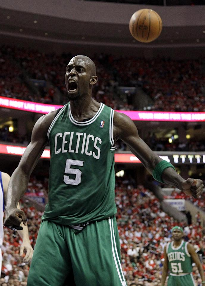 Boston Celtics' Kevin Garnett reacts after being fouled during the first half of Game 3 of an NBA basketball Eastern Conference semifinal playoff series against the Philadelphia 76ers, Wednesday, May 16, 2012, in Philadelphia. (AP Photo/Matt Slocum)