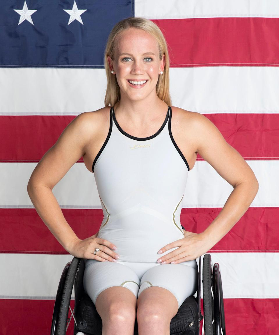 """<strong><h2>Mallory Weggemann </h2>Sport: </strong>Swimming<br><strong>Instagram: </strong><a href=""""https://www.instagram.com/malloryweggemann/?hl=en"""" rel=""""nofollow noopener"""" target=""""_blank"""" data-ylk=""""slk:@malloryweggemann"""" class=""""link rapid-noclick-resp"""">@malloryweggemann</a><br><br>The two-time Paralympian swimmer from Kansas specializes in a variety of strokes, including freestyle, backstroke, breaststroke, and butterfly, at varying lengths. <br> <br><strong>What's your favorite workout?</strong> <br>""""Oh goodness, that is hard — I have a number of favorite workouts,"""" Weggemann says. """"One thing they all have in common is that I love workouts that challenge me, physically and mentally."""" She names a few favorites: A pool workout during which she swims 100 meters as fast as possible with breaks of only 10 seconds in between, 10 times through. She also loves <a href=""""https://magazine.vitality.co.uk/what-is-an-amrap-workout-and-why-is-it-so-good-for-you/#:~:text=An%20AMRAP%20session%20focuses%20on,could%20be%20your%20whole%20workout."""" rel=""""nofollow noopener"""" target=""""_blank"""" data-ylk=""""slk:a workout she refers to as """"AMRAP,"""""""" class=""""link rapid-noclick-resp"""">a workout she refers to as """"AMRAP,""""</a> which means """"as many rounds as possible"""" and involves repeating a circuit of different exercises as many times as she can over the course of 25 minutes. """"I love <a href=""""https://www.refinery29.com/en-us/exercise-mental-health-amount"""" rel=""""nofollow noopener"""" target=""""_blank"""" data-ylk=""""slk:workouts that require me to not only physically step it up, but mentally"""" class=""""link rapid-noclick-resp"""">workouts that require me to not only physically step it up, but mentally</a>,"""" she says. """"I never 'hold back' to conserve myself for the length of a workout — I go all out from the start and challenge myself to maintain it even when my mind wants to give up. The reality is our minds give up far before our bodies ever will and when it comes time for race day, you have to be willing to go all o"""