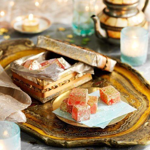 """<p>Home-made Turkish Delight with some golden garnish make a great yule-time gift.</p><p><strong>Recipe: <a href=""""https://www.goodhousekeeping.com/uk/food/recipes/turkish-delight?click=main_sr"""" rel=""""nofollow noopener"""" target=""""_blank"""" data-ylk=""""slk:Turkish Delight"""" class=""""link rapid-noclick-resp"""">Turkish Delight</a></strong><br><br><br></p>"""