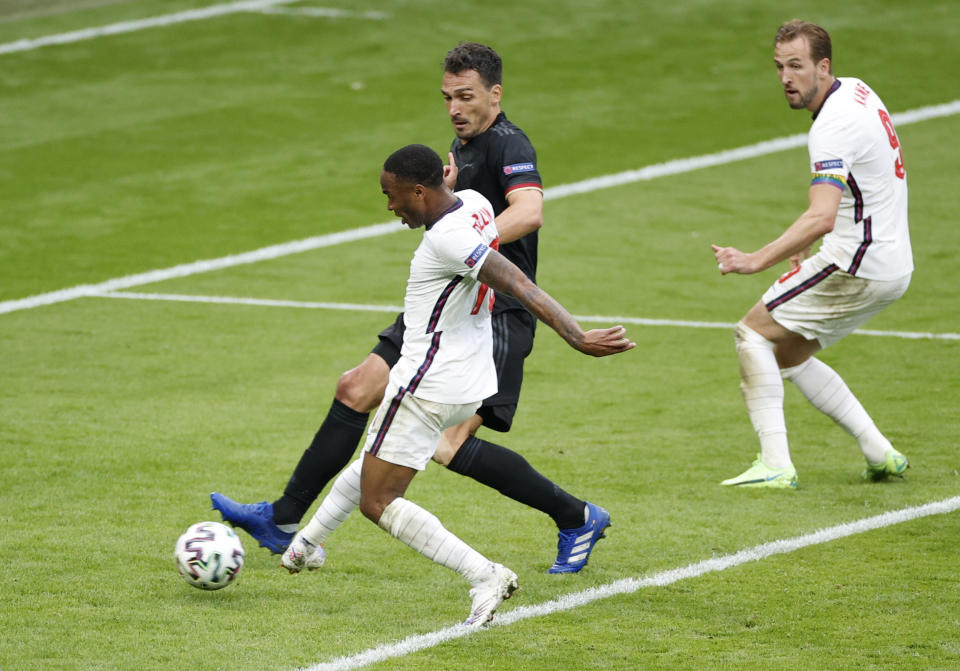 Euro 2020: England's Raheem Sterling scores the first goal against Germany at Wembley on Tuesday. England defeated Germany 2-0 to reach the quarterfinals where they will play against Ukraine. Photo: John Sibley/Reuters