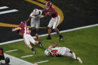 Alabama wide receiver Slade Bolden scores a touchdown against Ohio State during the second half of an NCAA College Football Playoff national championship game, Monday, Jan. 11, 2021, in Miami Gardens, Fla. (AP Photo/Wilfredo Lee)