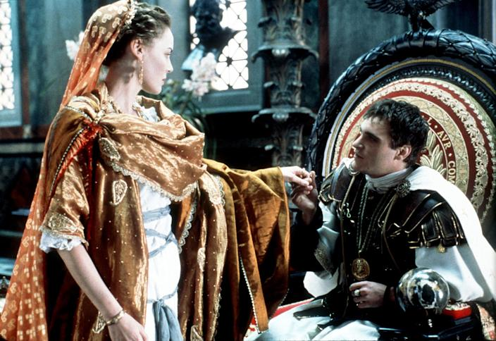 """The Emperor Of Rome Commodus (Joaquin Phoenix) Has Reason To Question The Loyalty Of His Sister Lucilla (Connie Nielsen) In """"Gladiator,"""" Directed By Ridley Scott. (Photo By Getty Images)"""