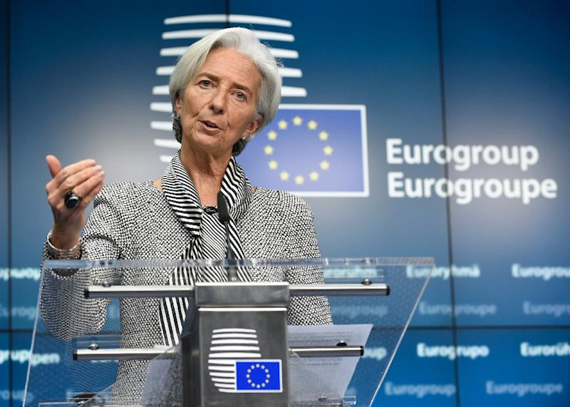 International Monetary Fund Managing Director Christine Lagarde gives a press after an Eurogroup Council meeting on February 20, 2015 at EU Headquarters in Brussels (AFP Photo/John Thys)