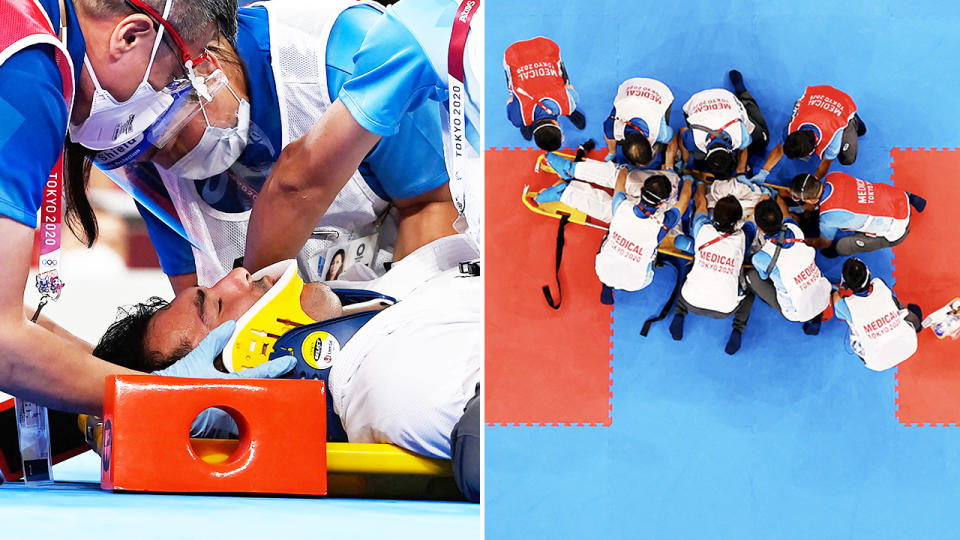 Sajad Ganjzadeh, pictured here being taken away on a stretcher.