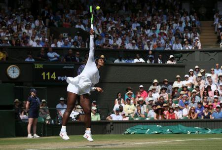 Tennis - Wimbledon - All England Lawn Tennis and Croquet Club, London, Britain - July 12, 2018. Serena Williams of the U.S. in action during her semi final match against Germany's Julia Goerges. Jonathan Brady/pool via Reuters