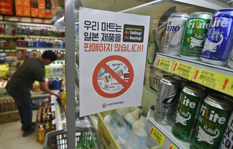 The South Korean boycott campaign has seen Japanese beer exports to the country wiped out, while shipments of instant noodles and sake have also taken a hit