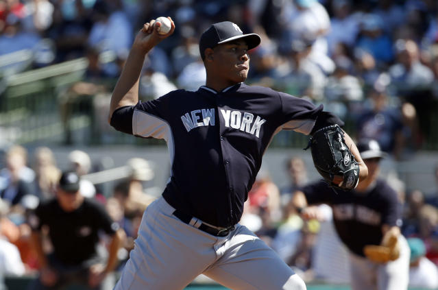 New York Yankees starting pitcher Ivan Nova (47) throws in the first inning of a spring exhibition baseball game against the Houston Astros, Saturday, March 8, 2014, in Kissimmee, Fla. (AP Photo/Alex Brandon)