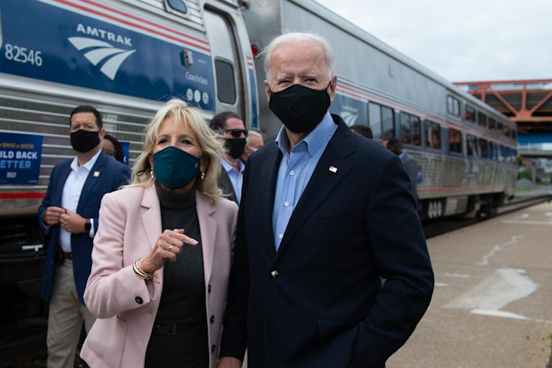 Democratic presidential nominee and former Vice President Joe Biden and his wife Jill speak to the press before boarding their train in the Cleveland Train Station on September 30, 2020 in Cleveland, Ohio. (Roberto Schmidt/AFP via Getty Images)