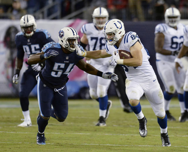 FILE - In this Oct. 16, 2017, file photo, Tennessee Titans inside linebacker Avery Williamson (54) closes in on Indianapolis Colts tight end Jack Doyle (84) during the second half of an NFL football game in Nashville, Tenn. The New York Jets announced the signing of Williamson on Sunday, March 18, 2018. (AP Photo/Mark Zaleski, File)