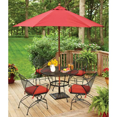 """<p><strong>Better Homes and Gardens</strong></p><p>walmart.com</p><p><strong>$319.99</strong></p><p><a rel=""""nofollow"""" href=""""https://www.walmart.com/ip/19529189"""">SHOP NOW</a></p><p>Whether your garden is a lush, colorful oasis or a zen <a rel=""""nofollow"""" href=""""https://www.womansday.com/home/decorating/g2270/landscaping-tips/"""">expanse of green</a>, this cheerful black-and-red ensemble will keep your yard bright. The powder-coated finish resists rust and the Jacquard cushions are treated with UV protection, too. </p>"""