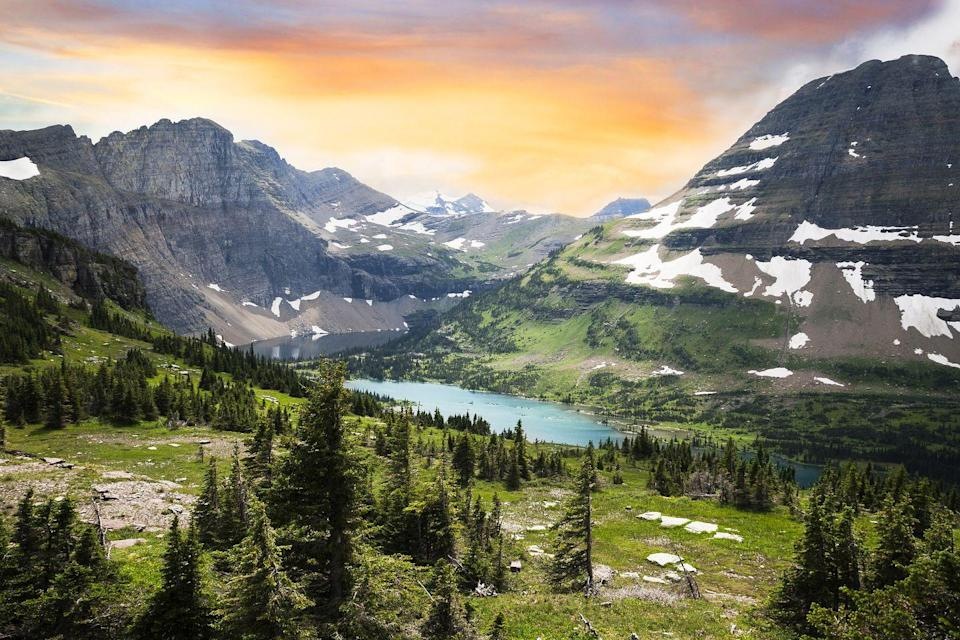 "<p><a href=""https://www.nps.gov/glac/index.htm"" rel=""nofollow noopener"" target=""_blank"" data-ylk=""slk:Glacier National Park"" class=""link rapid-noclick-resp"">Glacier National Park</a> spans more than one million acres with 745 miles of hiking trails weaving through verdant valleys and up soaring snow-capped mountains. Due to the native wildlife who call the park home, hikers are encouraged to wear jingling bells to ward off bears. </p><p>And while many glaciers in the park have begun rapidly melting, the park rangers have been working to educate visitors on climate change and how they can help. <a href=""https://explorewhitefish.com/"" rel=""nofollow noopener"" target=""_blank"" data-ylk=""slk:Whitefish"" class=""link rapid-noclick-resp"">Whitefish</a>, a neighboring small town, offers an ideal spot to retire after a long day of exploring the scenic lakes, valleys, and peaks of the park. </p>"