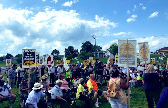 Over 350 people marched in Charleston, West Virginia to protest Senator Joe Manchin's stance on voting rights and other issues. (Source: Rev William J. Barber/Twitter)