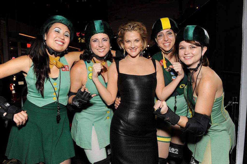 """<a href=""""http://movies.yahoo.com/movie/contributor/1800016287"""">Drew Barrymore</a> and The Derby Dolls at the Los Angeles premiere of <a href=""""http://movies.yahoo.com/movie/1810036665/info"""">Whip It!</a> - 09/29/2009"""
