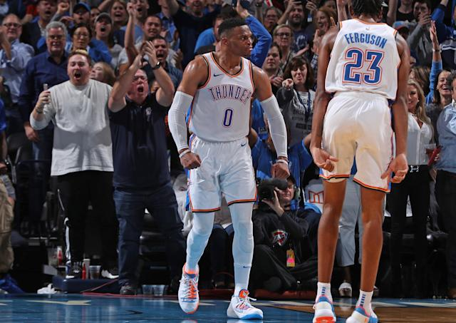 When things got heated between Russell Westbrook and Patrick Beverley, police stepped onto the basketball court. (Getty)