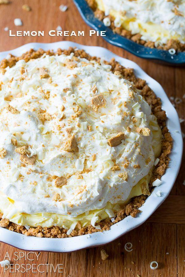 "<p>No one will know you waited until the last minute to make this fluffy, gorgeous desset with a graham cracker crust. It only takes about 30 minutes to make, and is so delicious. </p><p><a href=""https://www.aspicyperspective.com/lemon-cream-pie-recipe/2/"" rel=""nofollow noopener"" target=""_blank"" data-ylk=""slk:Get the recipe from A Spicy Perspective »"" class=""link rapid-noclick-resp""><em>Get the recipe from A Spicy Perspective »</em></a></p>"