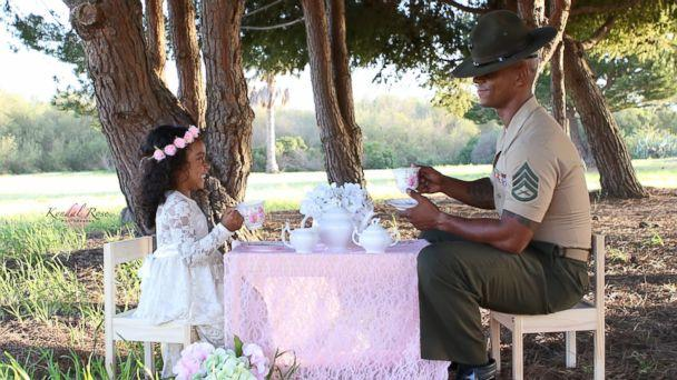 PHOTO: Kevin Porter, a U.S. Marine Corps drill instructor, had a tea part with his 4-year-old daughter, Ashley, in honor of April being the Month of the Military Child. (kyndalrosephoto/Facebook)
