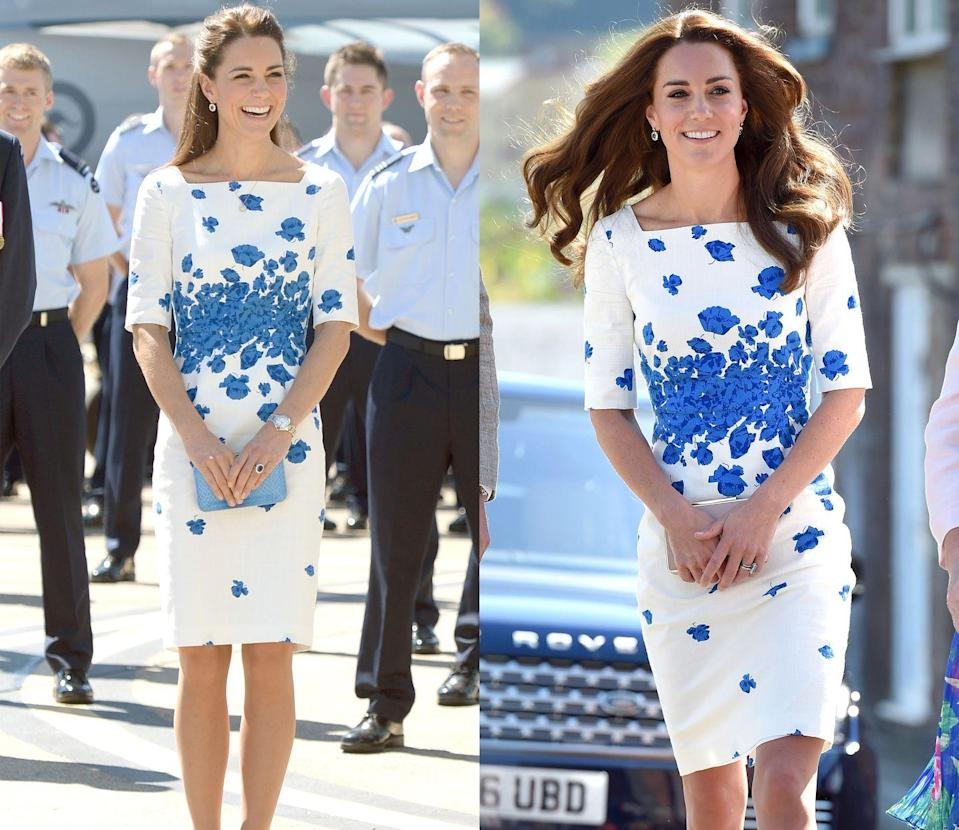<p>Middleton wore this L.K. Bennet white and blue floral shift dress to arrive at the Brisbane Airforce Base in April 2014. She wore the feminine number again to visit Luton in August 2016. </p>