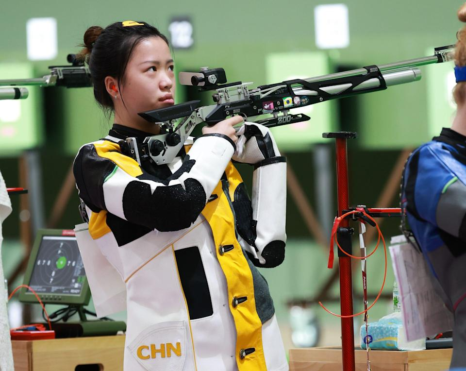 Yang Qian of China in action during the 10m Air Rifle Women's Qualification on the first day of the Tokyo 2020 Olympic Games