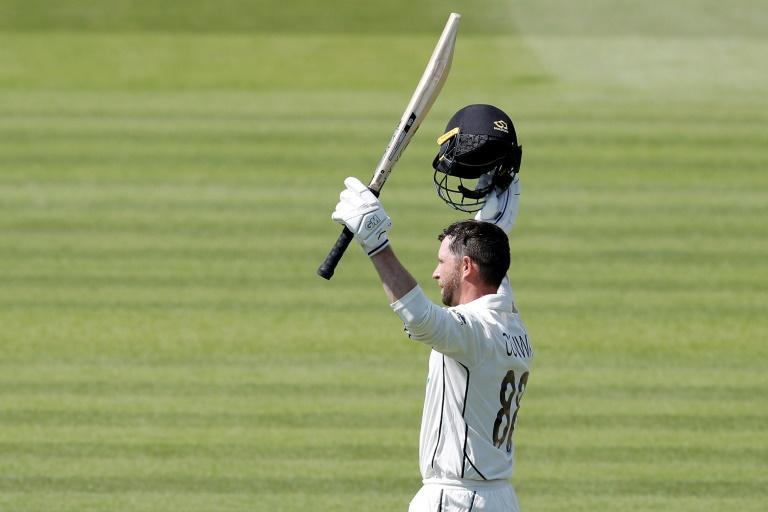 Double century - New Zealand debutant Devon Conway celebrates after reaching 200 in the first Test against England at Lord's on Thursday