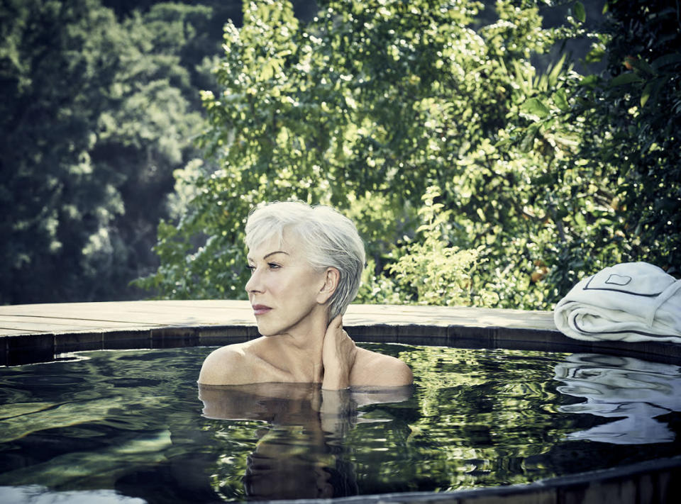 Helen Mirren posing topless for a charity campaign. (Photo: Jason Bell)