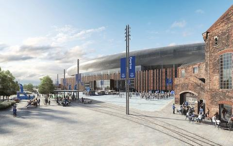 An image provided by Everton of the final designs for its new 52,000-seater stadium at Bramley-Moore Dock on Liverpool's waterfront - Credit: pa