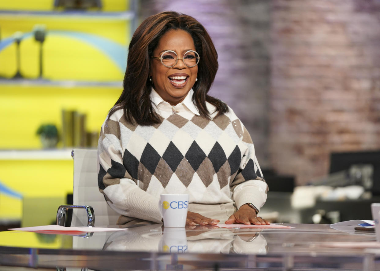 "NEW YORK - NOVEMBER 7: CBS This Morning Co-Anchors Gayle King, Anthony Mason, and Tony Dokoupil interview Oprah on her new Book Club Selection, ""Olive, Again"" with author Elizabeth Strout. (Photo by Michele Crowe/CBS via Getty Images)"