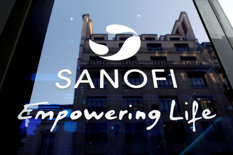 FILE PHOTO: Sanofi logo is seen during the company's annual results news conference in Paris, France