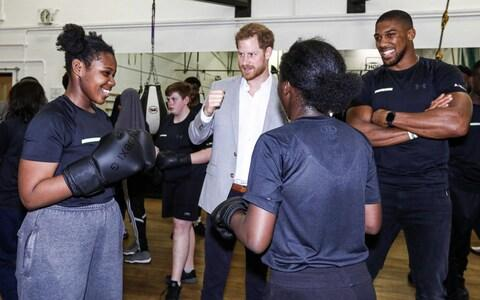 Prince Harry and Anthony Joshua attend the launch of Made By Sport - Credit: AFP