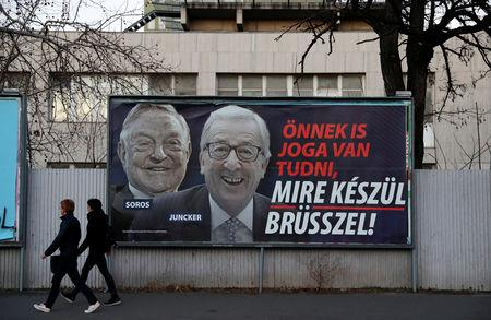 A government billboard is seen in Budapest