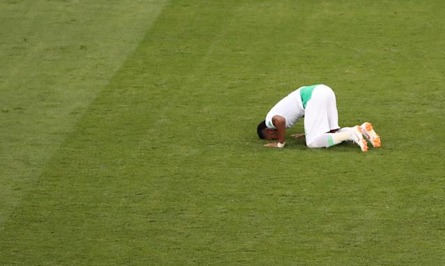 Soccer Football - World Cup - Group A - Uruguay vs Saudi Arabia - Rostov Arena, Rostov-on-Don, Russia - June 20, 2018 Saudi Arabia's Ali Al-Bulaihi reacts after the match REUTERS/Marcos Brindicci