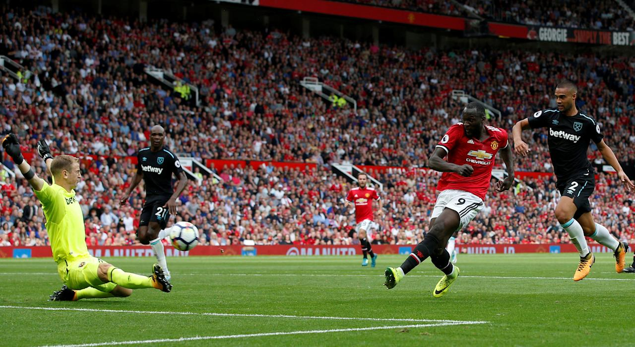 "Football Soccer - Premier League - Manchester United vs West Ham United - Manchester, Britain - August 13, 2017   Manchester United's Romelu Lukaku scores their first goal    REUTERS/Andrew Yates  EDITORIAL USE ONLY. No use with unauthorized audio, video, data, fixture lists, club/league logos or ""live"" services. Online in-match use limited to 45 images, no video emulation. No use in betting, games or single club/league/player publications. Please contact your account representative for further details.     TPX IMAGES OF THE DAY"