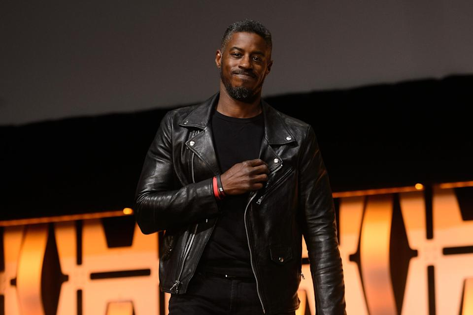 Ahmed Best is seen onstage at Star Wars Celebration (Credit: Daniel Boczarski/FilmMagic)