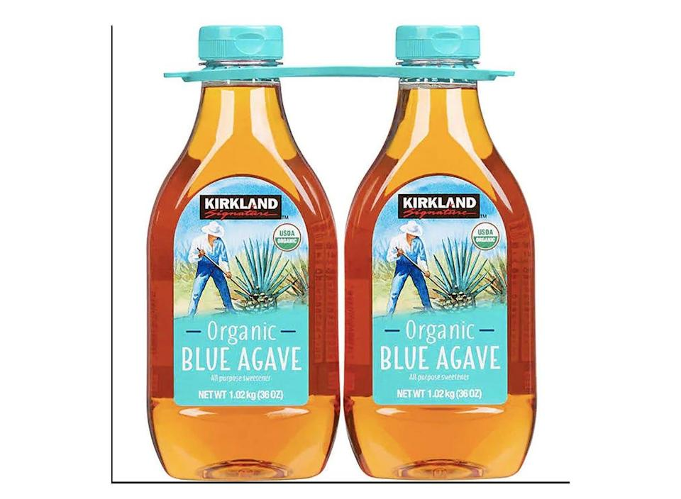 two bottles of kirkland signature blue agave from costco
