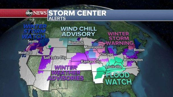 More than three dozen states are under snow, cold or flooding alerts Monday morning. (ABC News)