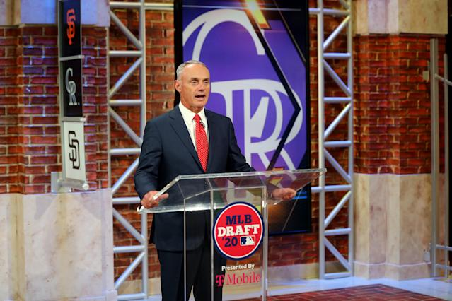Commissioner Rob Manfred presided over the shortened MLB draft Wednesday before the league delivered another proposal to the players asking them to take a pay cut beyond their already prorated salaries. (Photo by Alex Trautwig/MLB Photos via Getty Images)