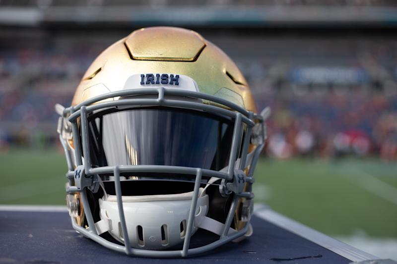 ORLANDO, FL - DECEMBER 28: A detailed view of a Notre Dame Fighting Irish helmet during the game between Notre Dame Fighting Irish and Iowa State Cyclones on December 28, 2019 at Camping World Stadium in Orlando, Fl. (Photo by David Rosenblum/Icon Sportswire via Getty Images)