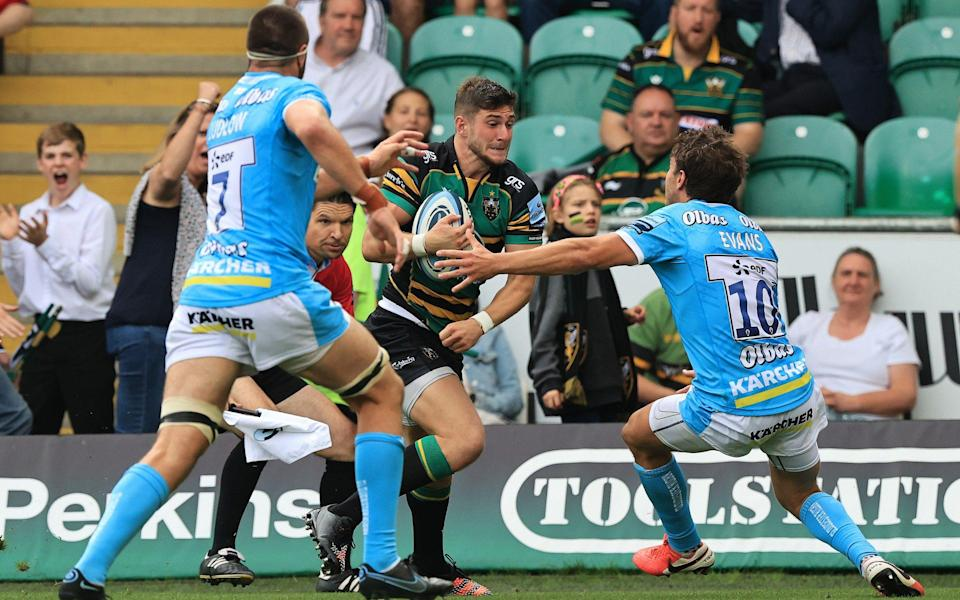 James Grayson of Northampton Saints breaks to score their second try during the Gallagher Premiership Rugby match between Northampton Saints and Gloucester Rugby at Franklin's Gardens on September 18, 2021 in Northampton, England. - GETTY IMAGES